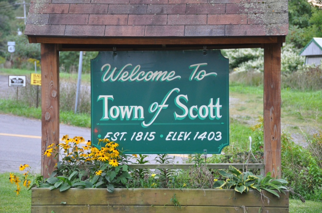 Town of Scott sign near the town hall.